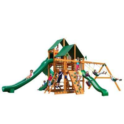 Great Skye II with Amber Posts and Sunbrella Canvas Forest Green Canopy Cedar Playset