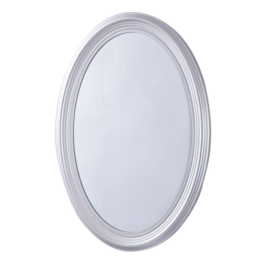 Sherwood 21 in. x 31 in. Oval Single Framed Wall Mount Mirror in Pewter