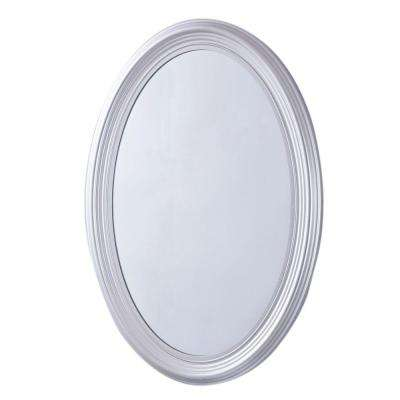 Sherwood 21 in. x 31 in. Oval Single Framed Wall Mount Mirror in Pewter