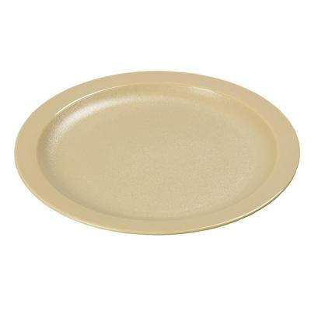 9.0 in. Diameter Polycarbonate Narrow Rim Commercial Dinnerware Plate in Tan (Case of 48)