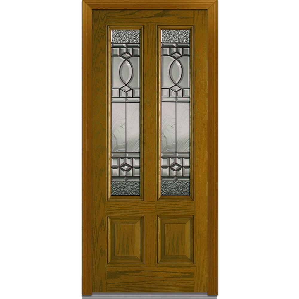 Milliken Millwork 36 in. x 80 in. Paris Right Hand 2 Lite Decorative Midcentury Stained Fiberglass Oak Prehung Front Door