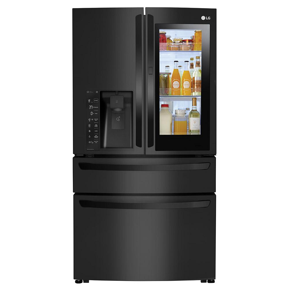 LG Electronics 23 cu. ft. 4-Door French Door Smart Refrigerator with InstaView Door-in-Door in Matte Black, Counter Depth