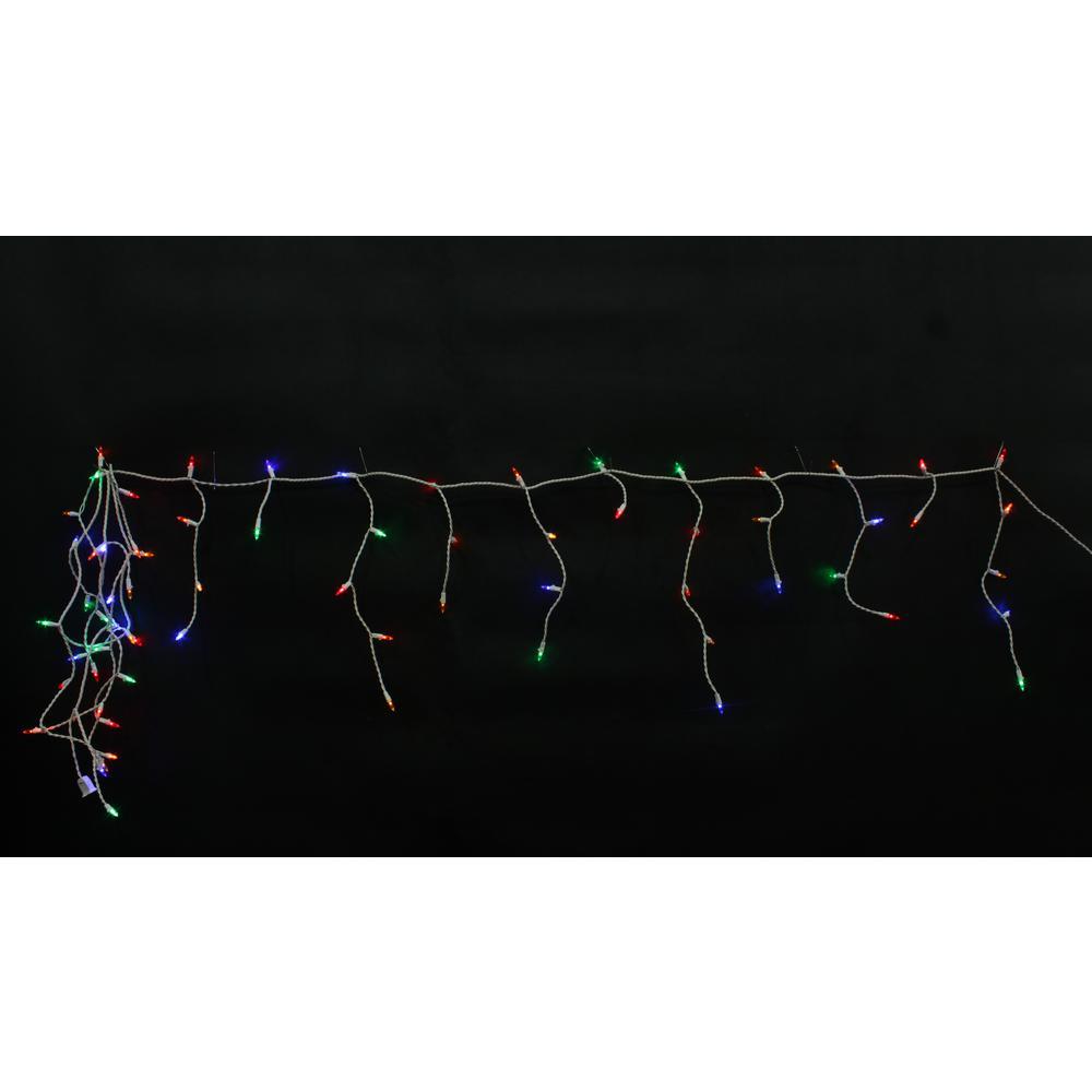 9.5 ft. 70-Light Mini Multi color Icicle Light