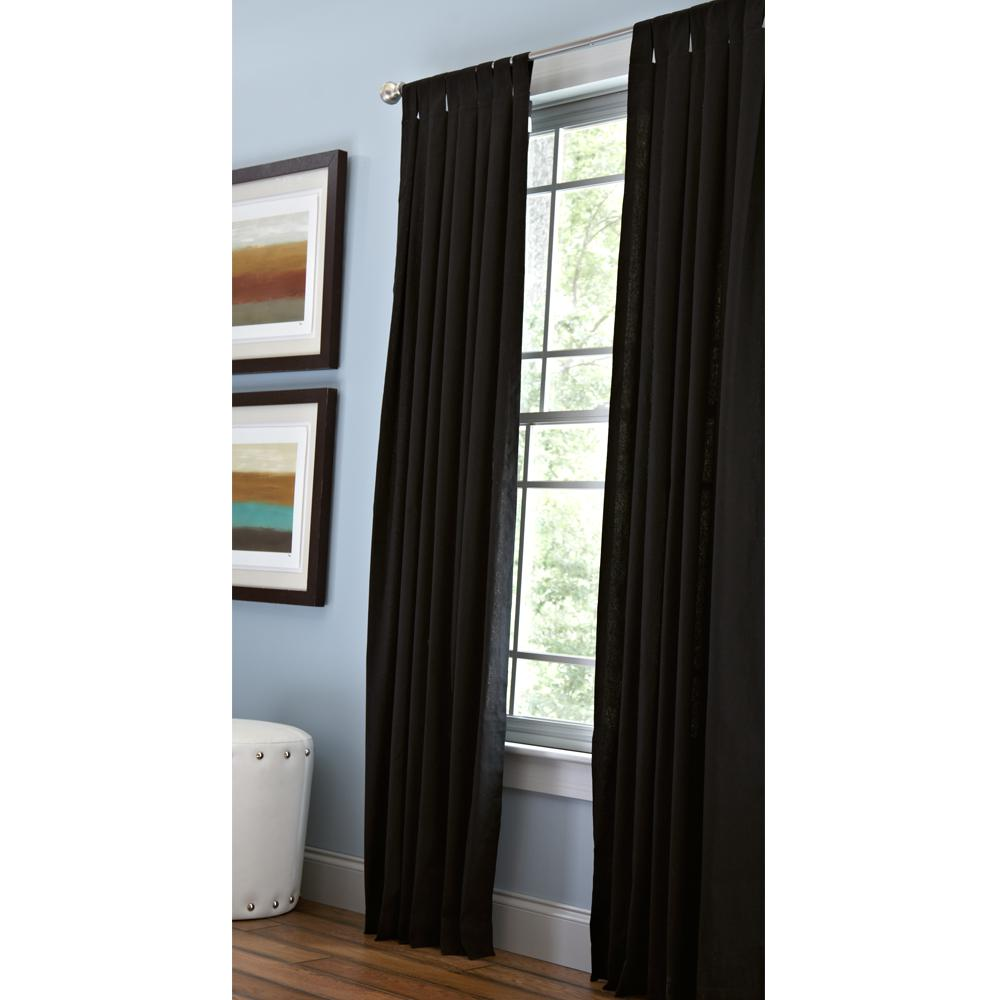 Home Decorators Collection Cotton Duck Light Filtering Window Panel in Black - 42 in. W x 95 in. L