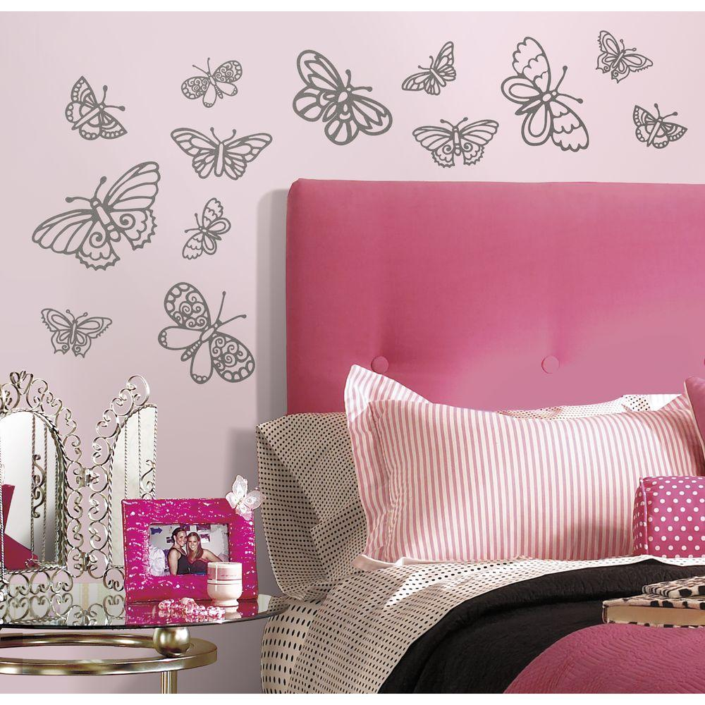 Roommates 5 In X 115 In Glitter Butterflies Peel And Stick Wall