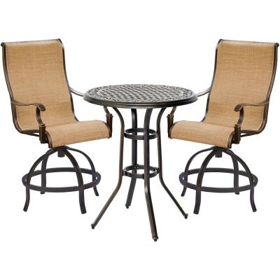 Hanover Manor 3-pc Sling Outdoor High Dining Set in Tan