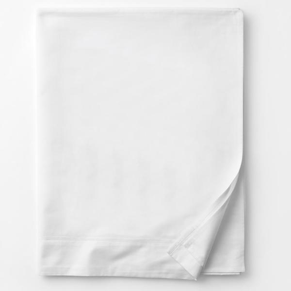 1500TC Egyptian Cotton 1pc FLAT SHEET Sateen Solid White