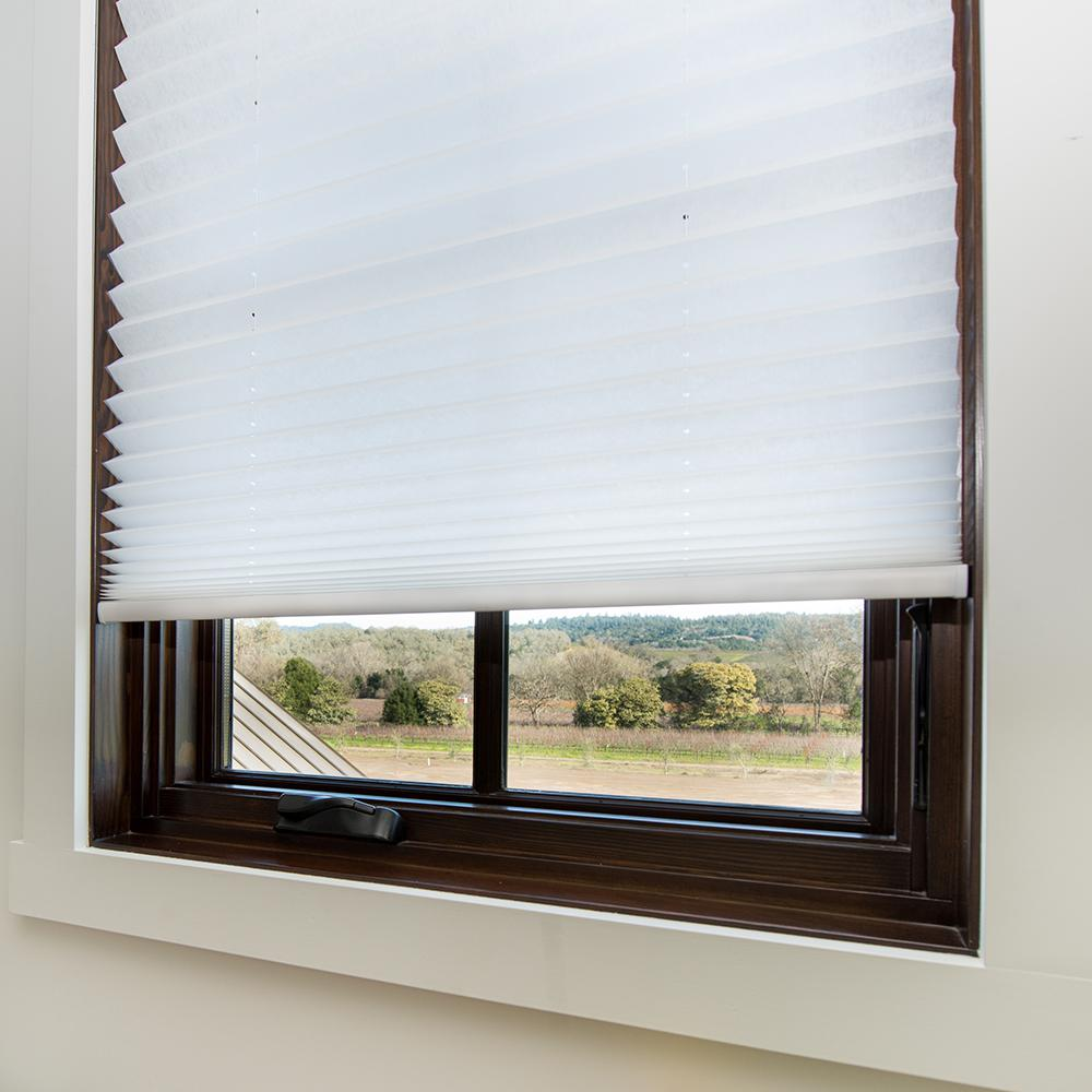 Easy Lift Cut-to-Size White Cordless Light Filtering Fabric Pleated Shade 36 in. W x 64 in. L
