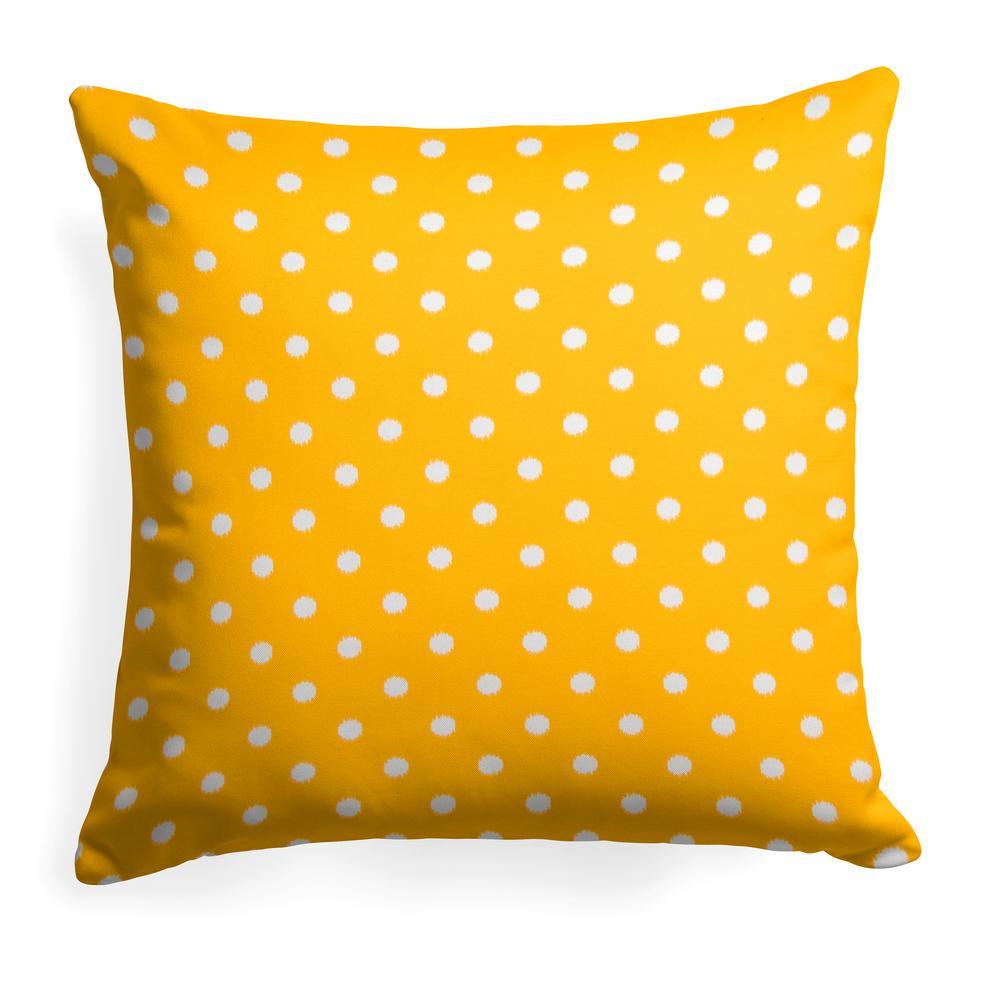 Coastal Pineapple Yellow Square Outdoor Throw Pillow