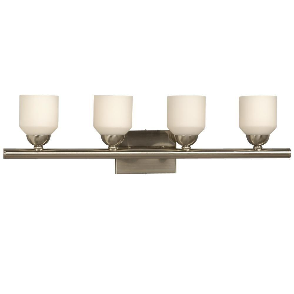 Negron 4-Light Brushed Nickel Incandescent Bath Vanity Light