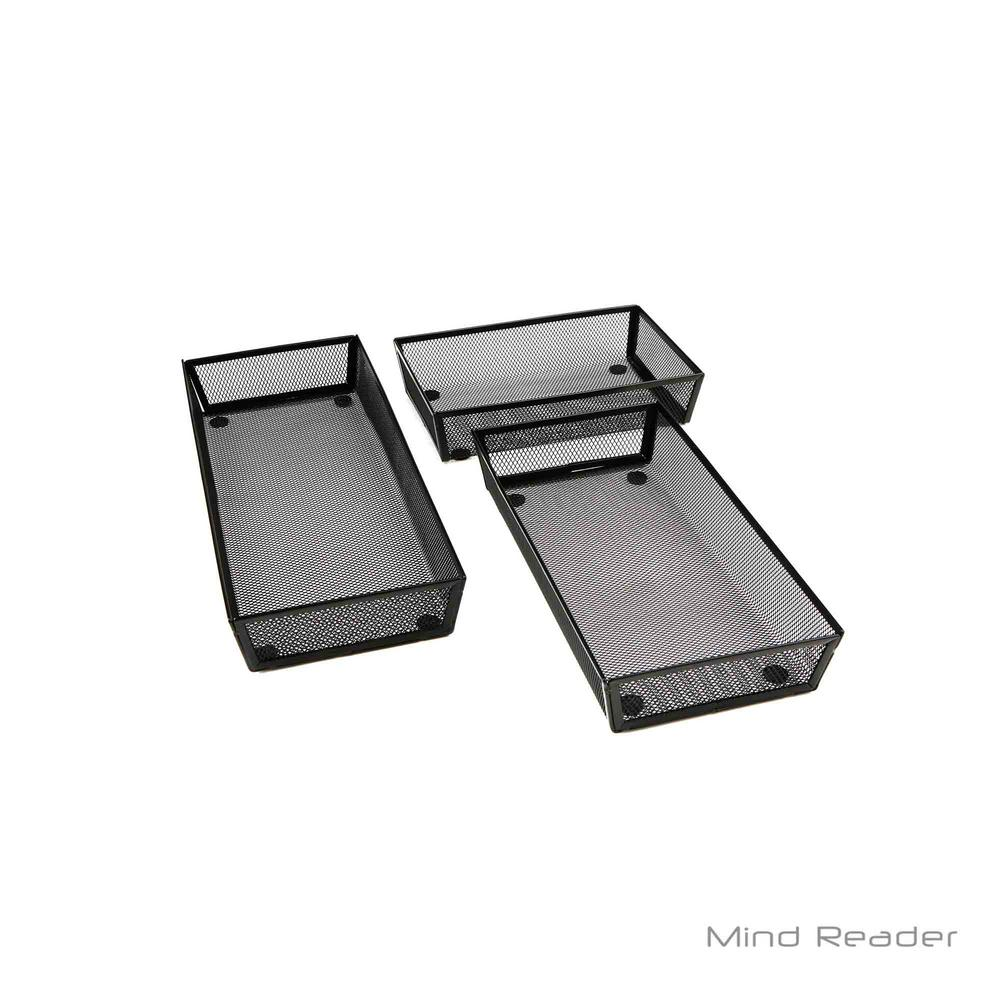 Mind Reader Mesh Storage Organizer Black 3 Piece