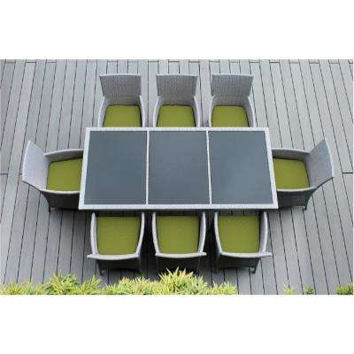 Gray 9-Piece Wicker Patio Dining Set with Spuncrylic Peridot Cushions
