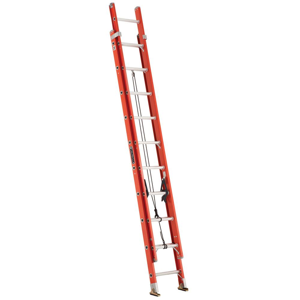 20 ft. Fiberglass Extension Ladder with 300 lbs. Load Capacity Type