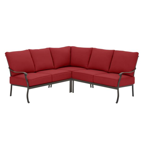Belcourt 3-Piece Rubbed Onyx Metal Outdoor Patio Sectional with Standard Chili Red Cushions