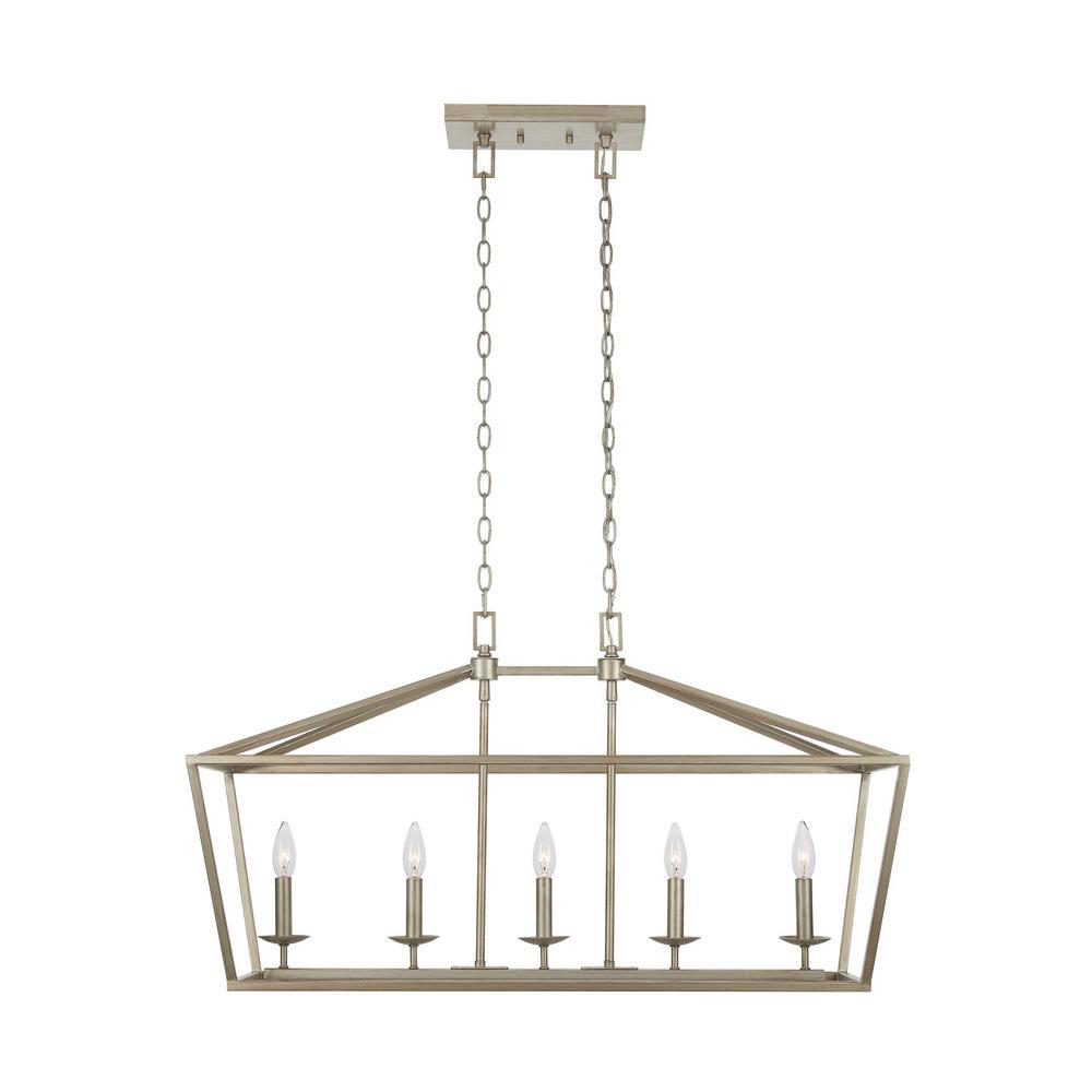 Weyburn 5-Light Antique Silver Caged Island Chandelier