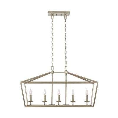 Weyburn 5-Light Antique Silver Caged Island Chandelier