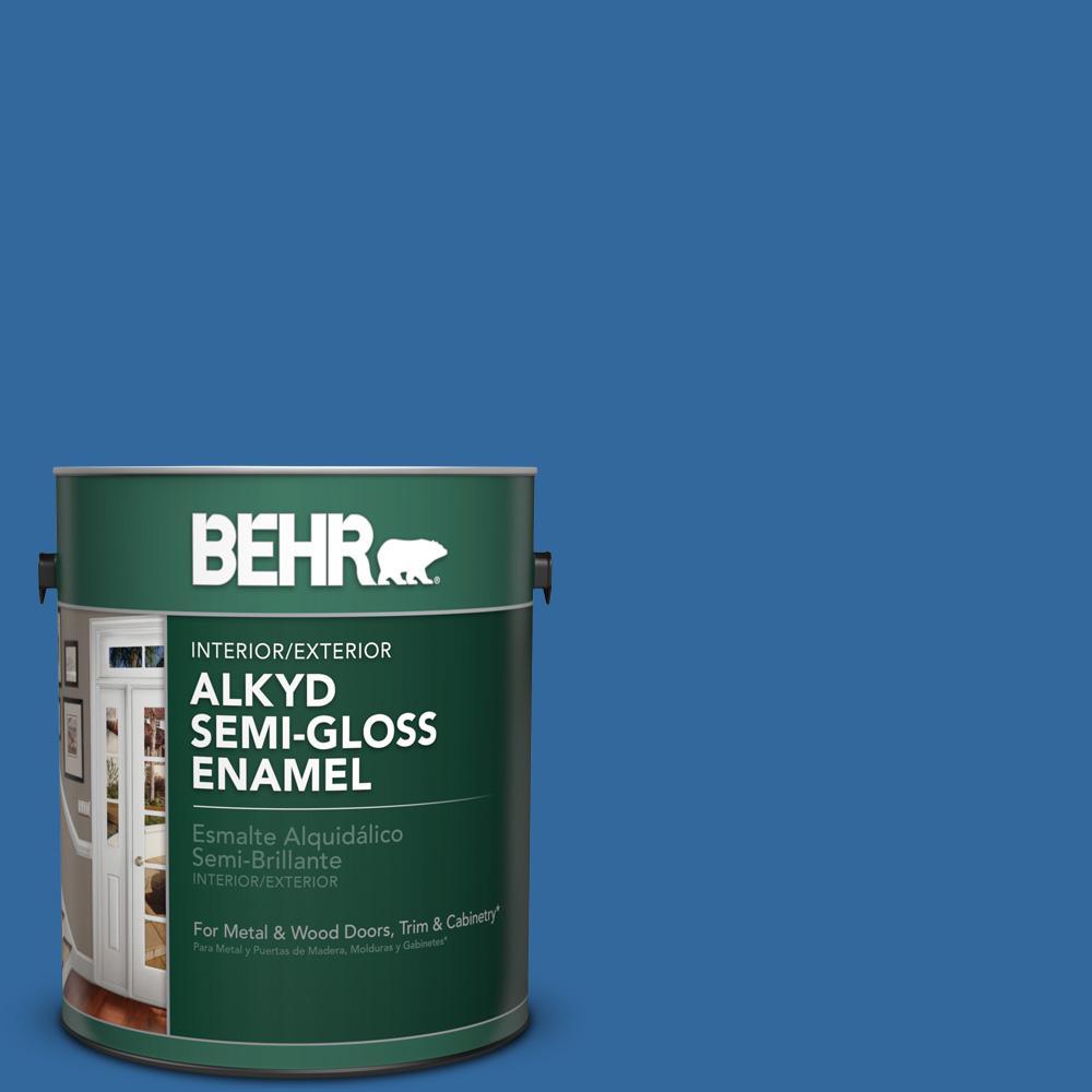 1 gal. #P500-7 Cosmic Cobalt Semi-Gloss Enamel Alkyd Interior/Exterior Paint
