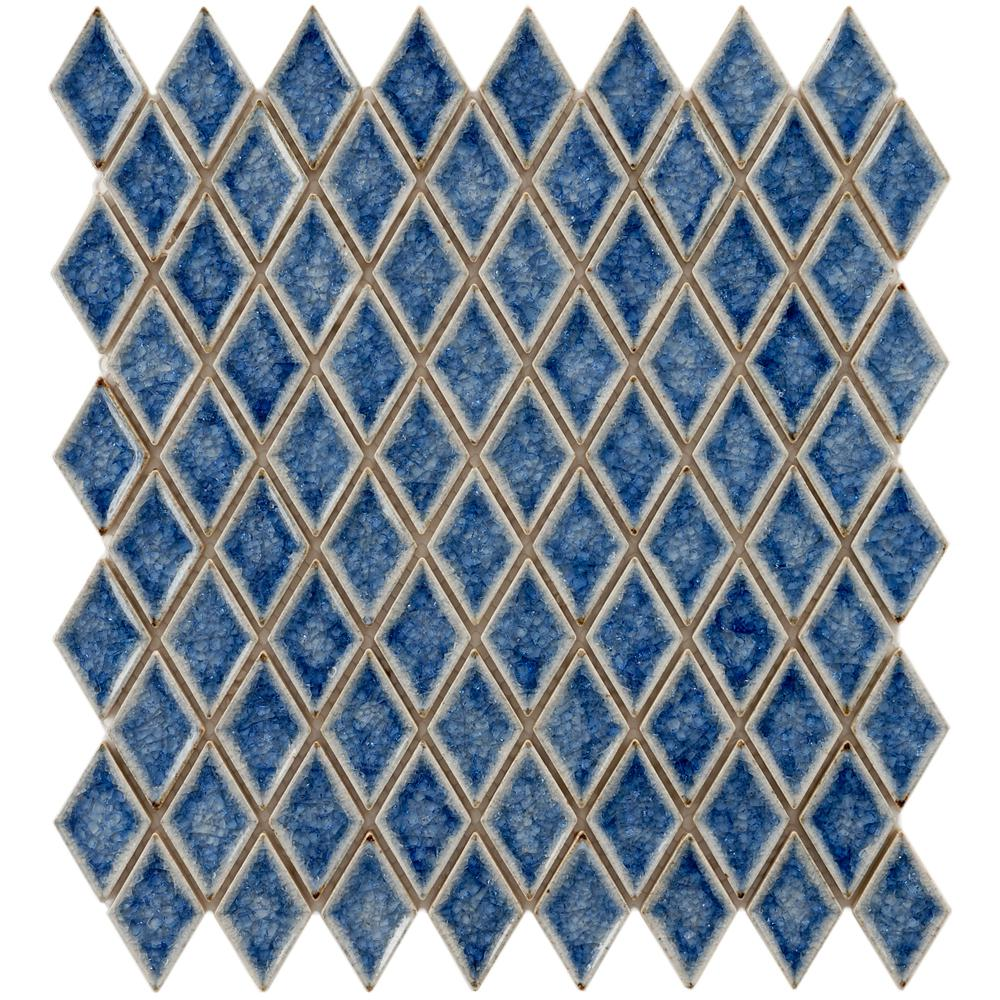 Merola Tile Crackle Diamond Azure 12 in. x 12 in. x 8 mm Ceramic ...
