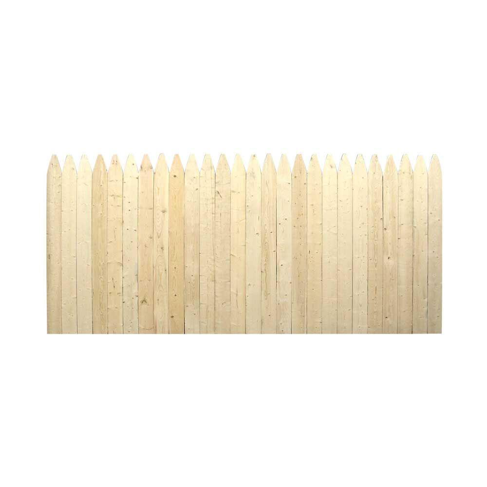 3 5 Ft H X 8 Ft W Natural 4 In Gothic Stockade Fence Panel