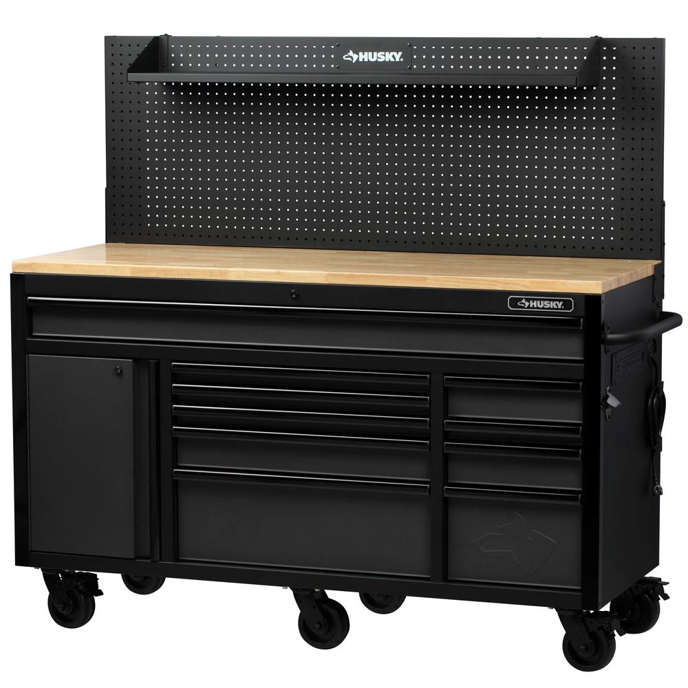 Husky Heavy-Duty 61 in. W, Deep 10-Drawer 1-Door Tool Chest Mobile Workbench in Matte Black with Flip-up Pegboard