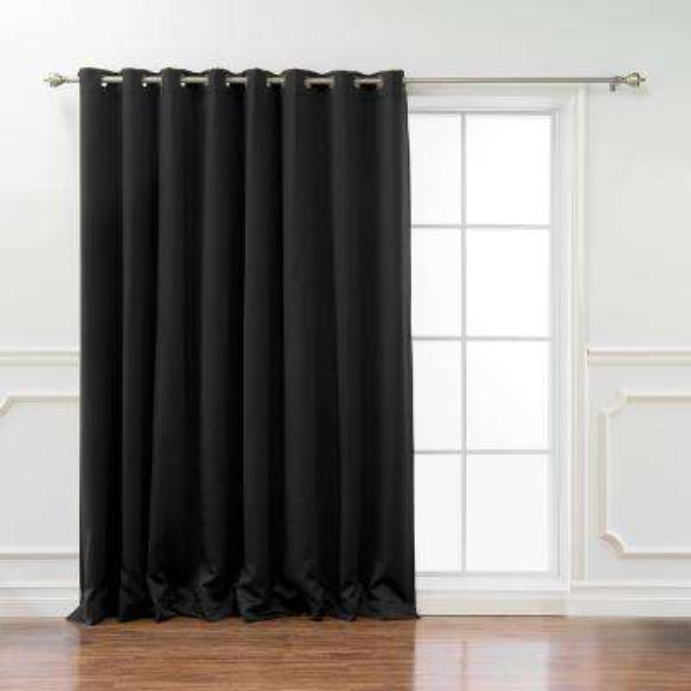 Wide Basic 100 in. W x 96 in. L Blackout Curtain in Black