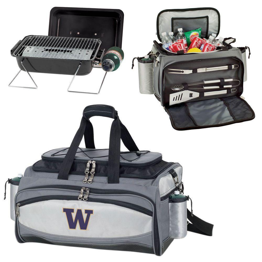 Picnic Time Washington Huskies - Vulcan Portable Propane Grill and Cooler Tote with Digital Logo, Black/Gray
