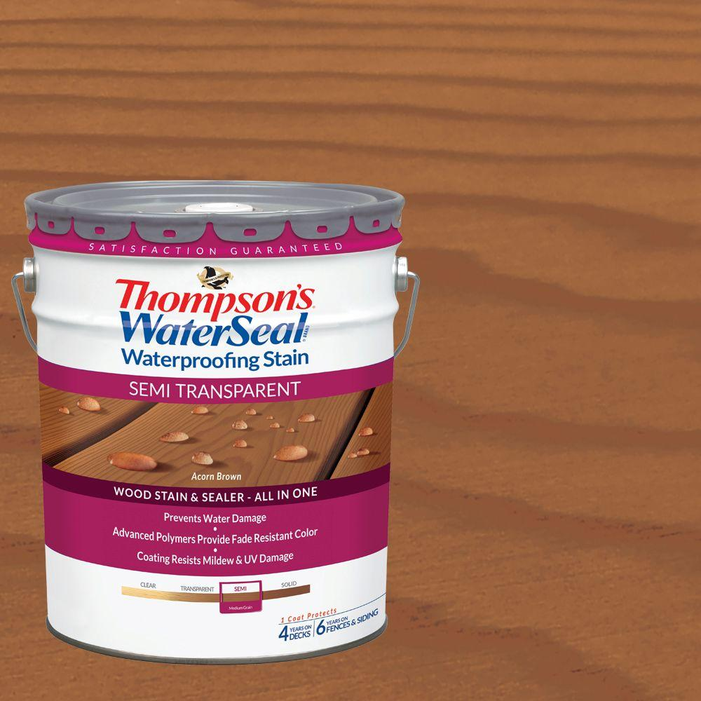 Thompson's WaterSeal 5 gal. Semi-Transparent Acorn Brown Waterproofing Stain Exterior Wood