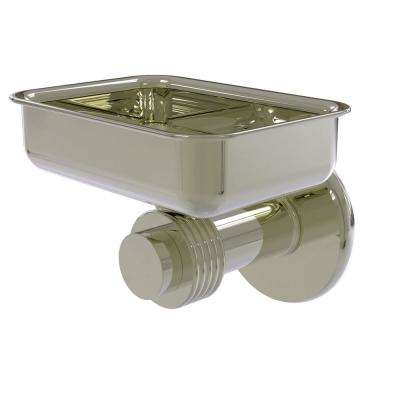 Mercury Collection Wall Mounted Soap Dish with Groovy Accents in Polished Nickel
