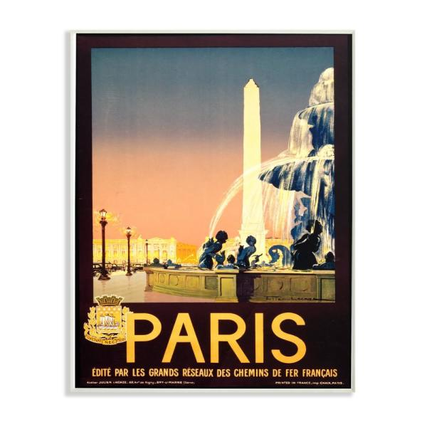 13 in. x 19 in. ''Vintage Paris Fountain Poster'' by Piddix Printed Wood Wall Art