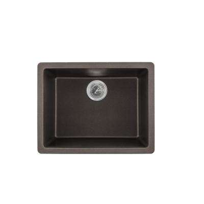 Dual Mount Quartz 21-2/3 in. Single Bowl Kitchen Sink in Mocha Brown