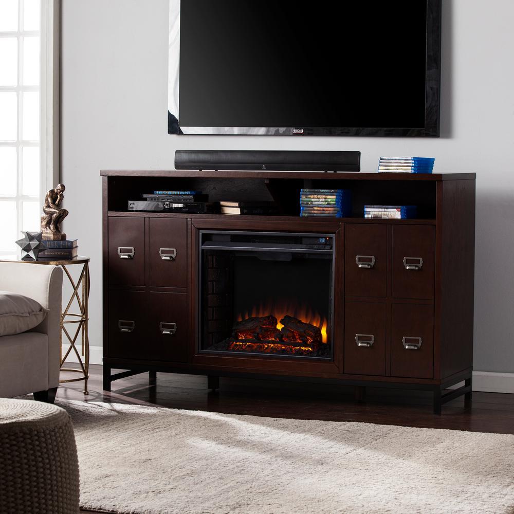 Clarksburg 58 in. W Electric Fireplace Media Stand in Espresso