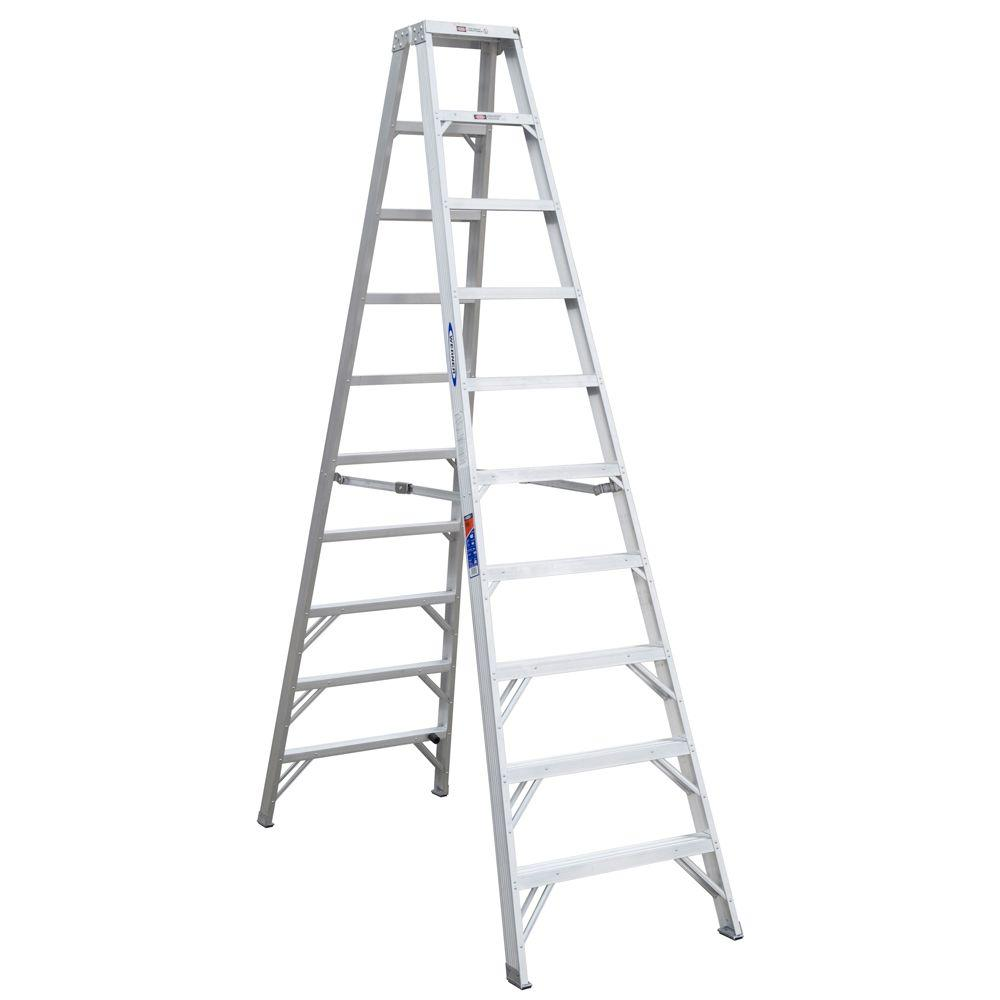 Werner 10 ft. Aluminum Twin Step Ladder with 300 lb. Load...