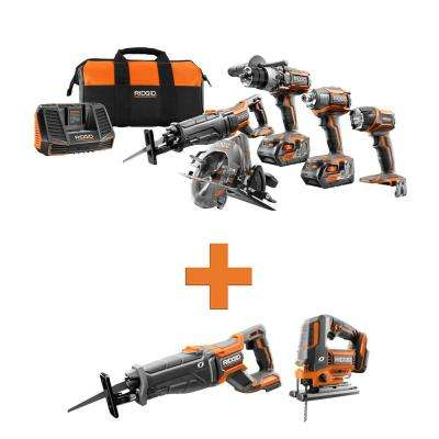 18-Volt Lithium-Ion Cordless 5-Tool Combo w/Bonus OCTANE Brushless Reciprocating Saw & OCTANE Brushless Jig Saw