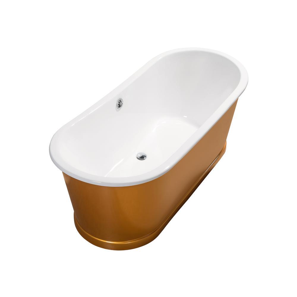 66.9 in. Cast Iron Flatbottom Non-Whirlpool Bathtub in Gold