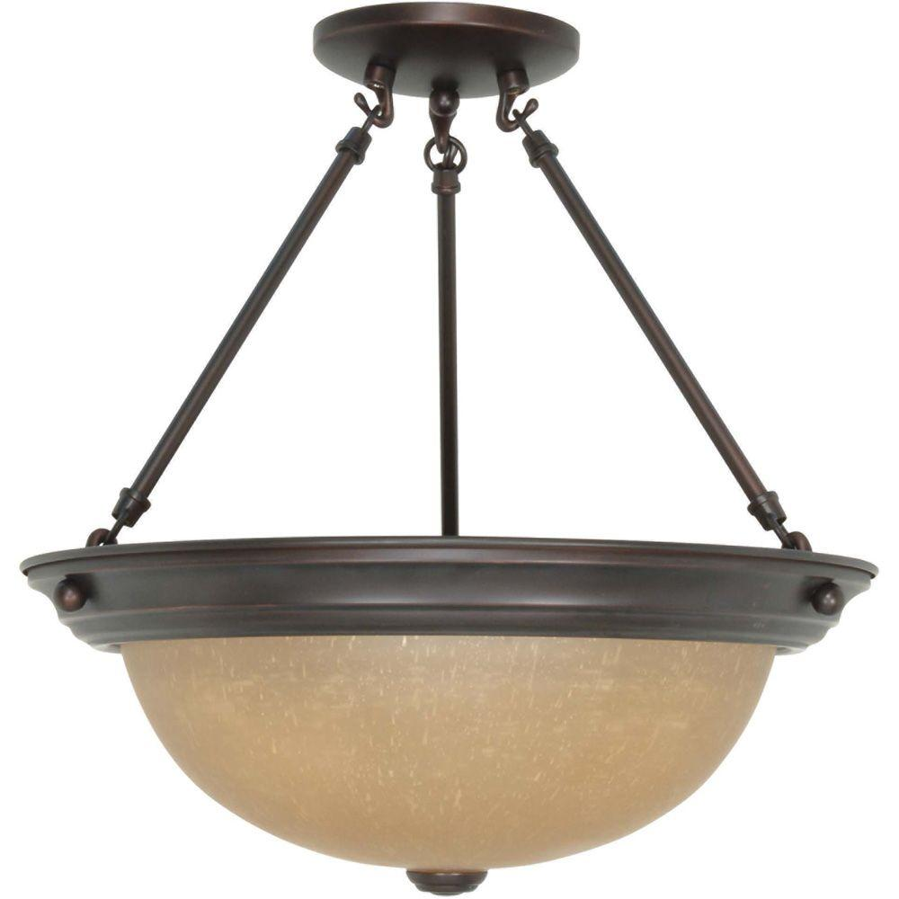 3-Light Mahogany Bronze Semi-Flush Mount Light