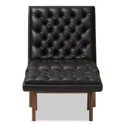 Annetha Black Faux Leather Lounge Chair and Ottoman Set