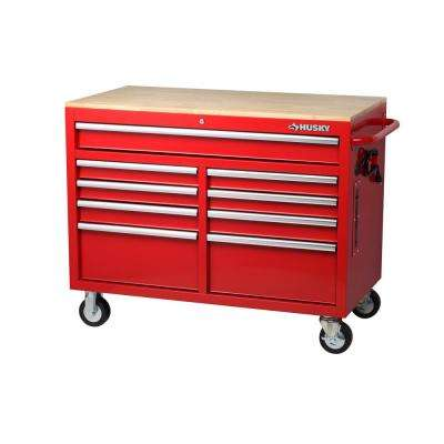 46 in. W x 24.5 in. D 9-Drawer Mobile Workbench with Solid Wood Top in Red