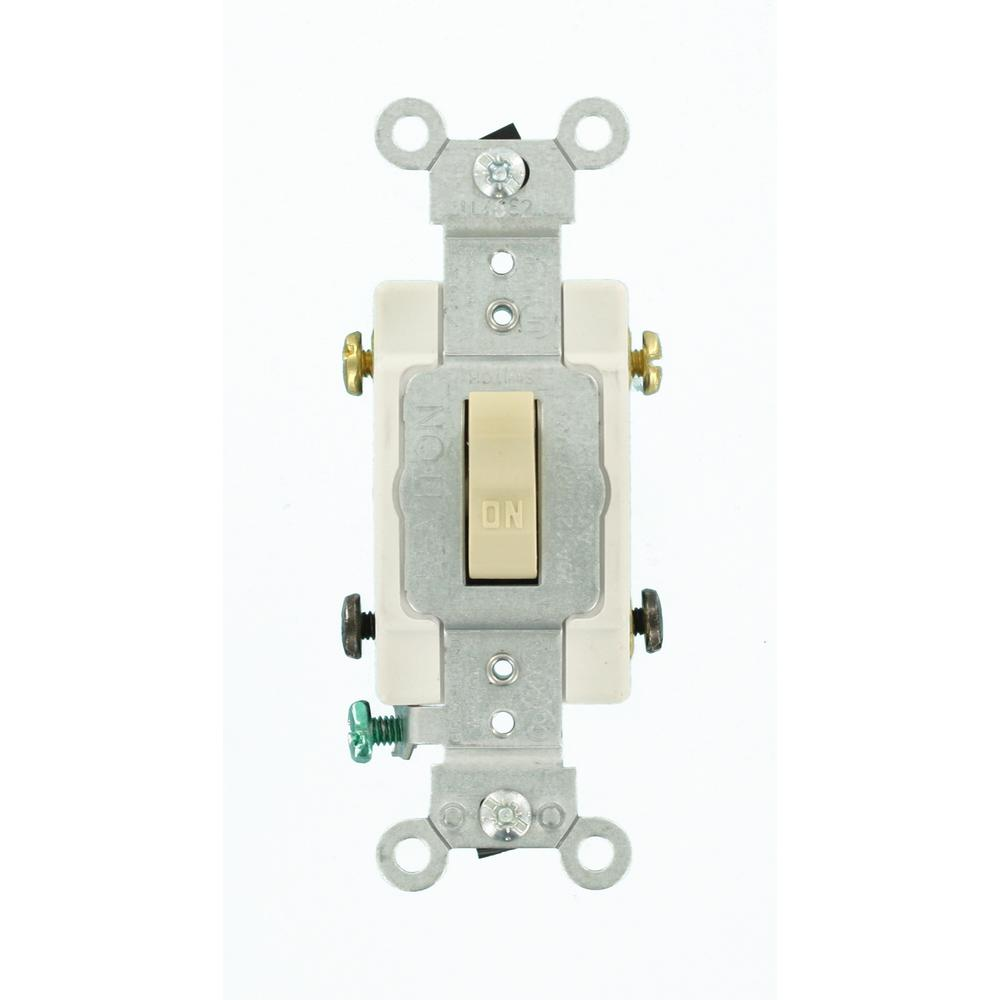 Leviton 20 Amp Double-Pole Commercial Switch, Ivory on