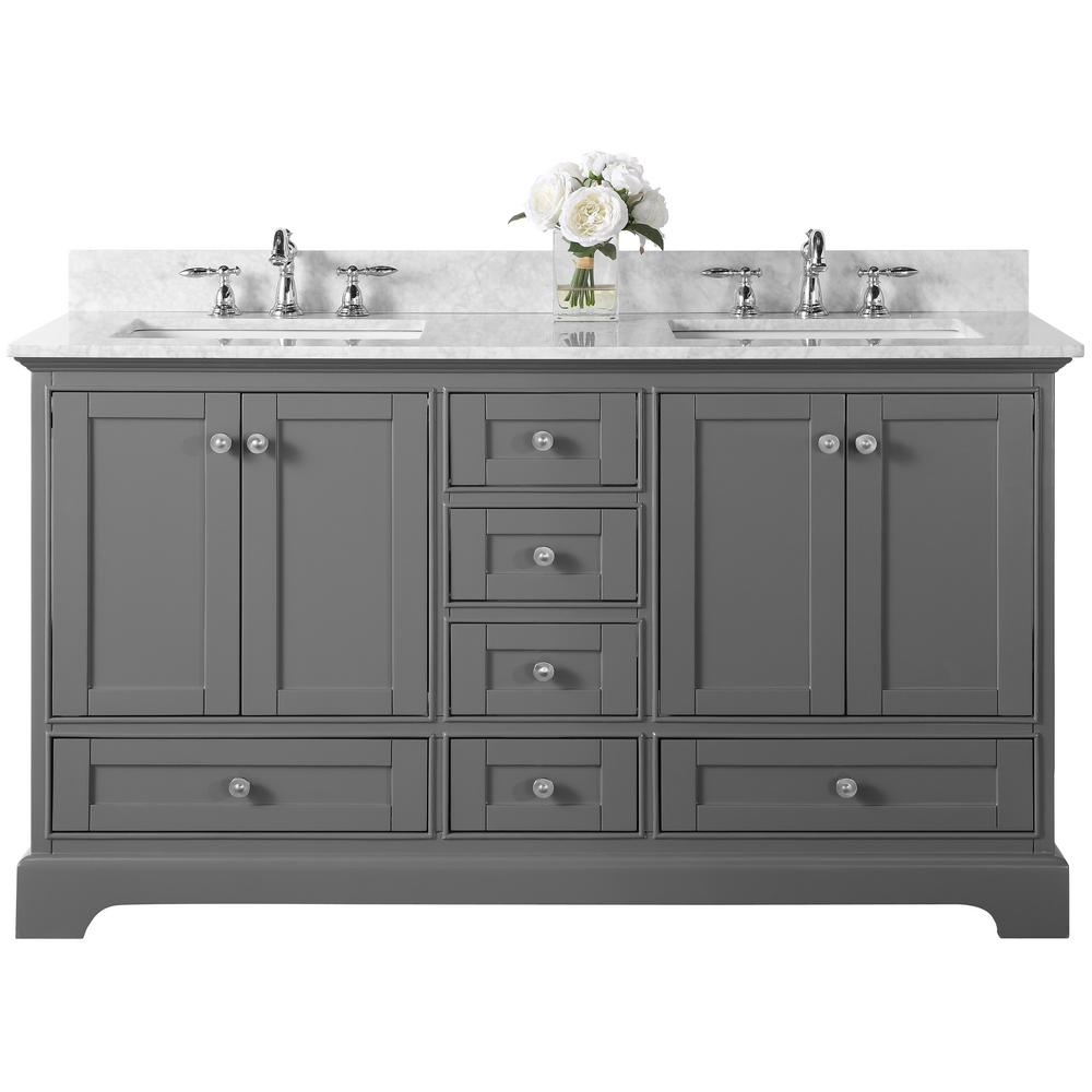 Ancerre Designs Audrey 60 in. W x 22 in. D Vanity in Sapphire Gray with Marble Vanity Top in Carrara White with White Basin