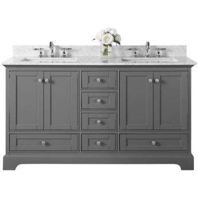Audrey 60 in. W x 22 in. D Vanity in Sapphire Gray with Marble Vanity Top in Carrara White with White Basin
