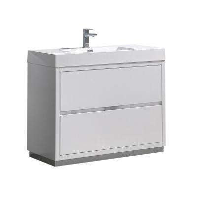 Valencia 40 in. W Bathroom Vanity in Glossy White with Acrylic Vanity Top in White