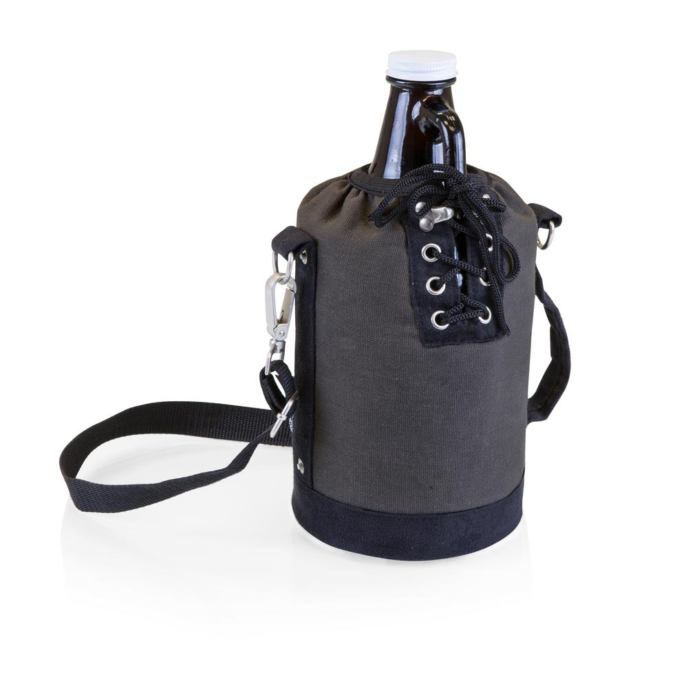 Grey and Black Insulated Growler Tote with 64 oz. Amber Glass