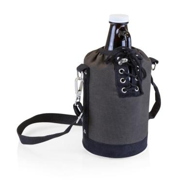 Grey and Black Insulated Growler Tote with 64 oz. Amber Glass Growler