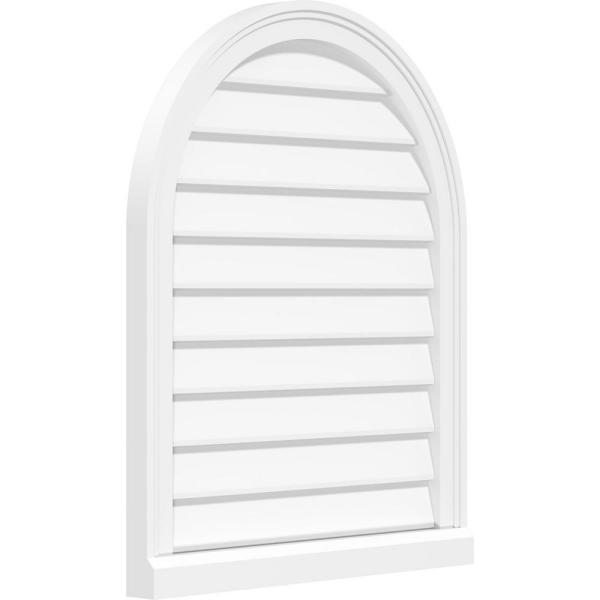Ekena Millwork 20 In X 36 In Round Top White Pvc Paintable Gable Louver Vent Non Functional Gvprt20x3603sn The Home Depot