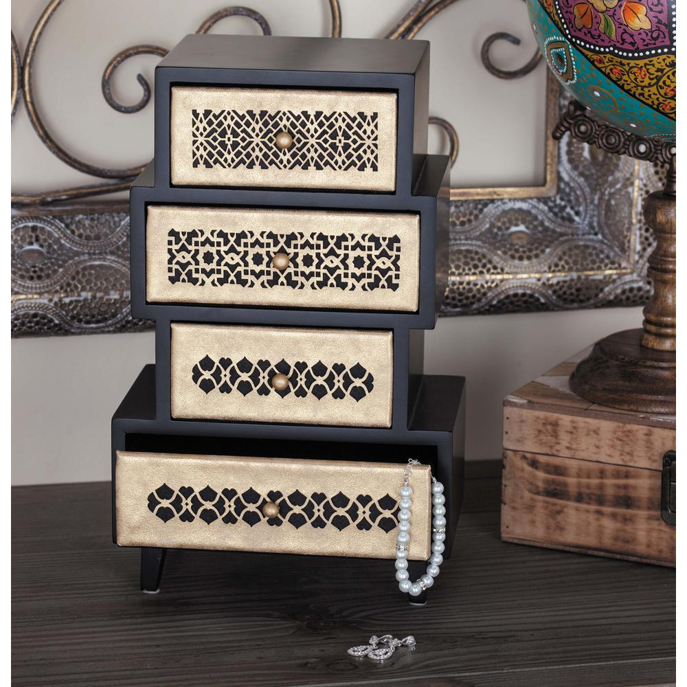 8 in. x 13 in. 4-Drawer Wooden Arabesque Jewelry Box