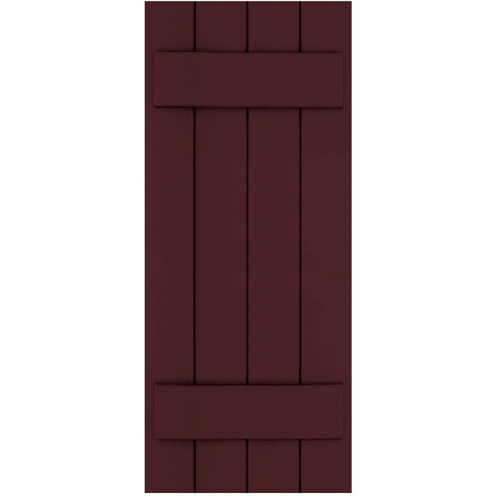 Winworks Wood Composite 15 in. x 37 in. Board & Batten Shutters Pair #657 Polished Mahogany