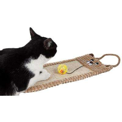 Brown Eco-Natural Sisal and Jute Hanging Carpet Kitty Cat Scratcher Lounge with Toy