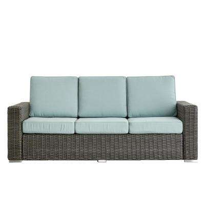 Camari Charcoal Square Arm Wicker Outdoor Sofa with Blue Cushion