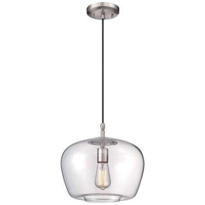 Clear schoolhouse pendant lights lighting the home depot 1 light brushed nickel pendant mozeypictures Gallery