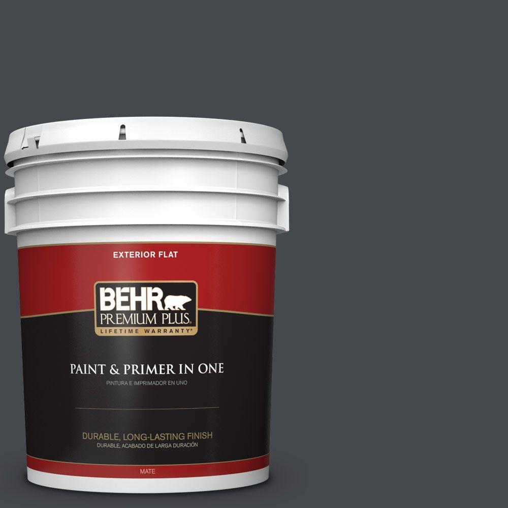 BEHR Premium Plus 5-gal. #N490-7 Ink Black Flat Exterior Paint